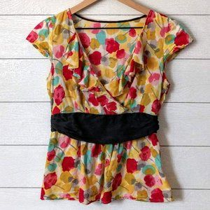 Anthropologie Odille Watercolor Peplum Blouse XS